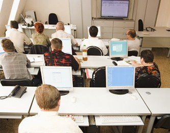 computer class with some students